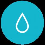 Symbolikuva, jossa sinisellä pohjalla vesipisara