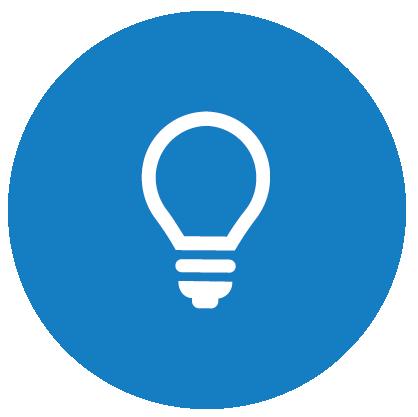 Symbolikuva, jossa sinisellä pohjalla hehkulamppu