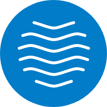 Symbolikuva, jossa sinisellä pohjalla aaltoja, kuvaa kyrkkärisähköä