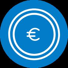 Symbolikuva jossa sinisellä pohjalla mökki, kuvaa pörssisähköä