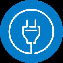 Symbolikuva, jossa sinisellä pohjalla pistoke, kuvaa se oikea sähkösopimusta