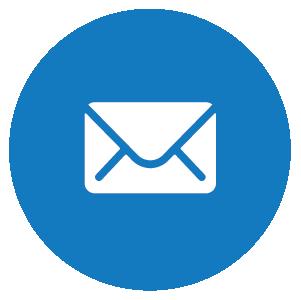 Symbolikuva, jossa sinisellä pohjalla kirjekuori, kuvaa yhteydenottoa postitse